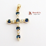 14K Yellow Gold Cross Pendant Sapphires Diamonds