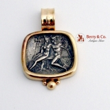 Custom Made Hermes Ares Medallion Pendant 14K Gold Sterling Silver