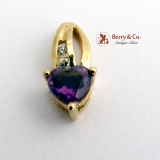 Carved Heart Pendant Amethyst Diamonds 10K Gold