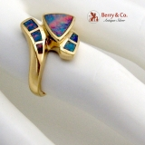Abstract Opal Ring 18K Yellow Gold