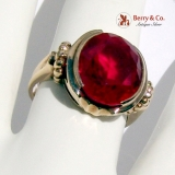 Vintage Retro Ring 18K Yellow Gold Synthetic Ruby 1940