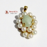 Jade Pearl Pendant 14K Yellow Gold 1940