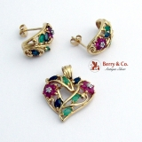 Dazzling Floral Heart Jewelry Set Earrings Pendant 10K Gold Emeralds Rubies Sapphires Diamonds