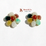 Multicolored Jade Flower Stud Earrings 14K Yellow Gold