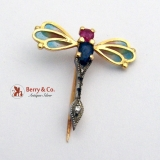 Amazing Dragonfly Brooch Pin 18K Gold Natural Ruby Natural Sapphire Diamond Plique a Jour
