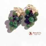 Grape Bunch Nephrite Jade Bead Earrings 14K Yellow Gold