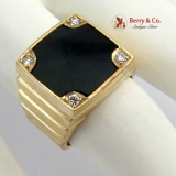 Handsome Mans Pinky Ring 14K Yellow Gold Diamonds Onyx