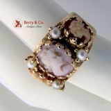 Vintage Cameo and Pearl Band Ring 14 K Yellow Gold