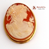 Vintage Oval Shell Cameo Brooch or Pendant 18 K Yellow Gold