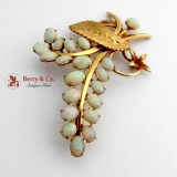 Vintage Floral Branch Brooch White Opal 14 K Yellow Gold
