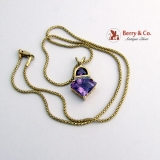 Estate Amethyst and Diamond Pendant 14 K Gold