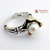 Lagos Caviar Pearl Ring 18 K Gold Sterling Silver
