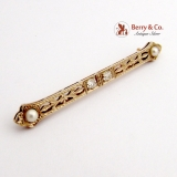 Antique Edwardian Bar Pin Brooch 14 K White and Yellow Gold Diamonds Pearls