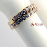 Pair Half-Eternity Rings 14 K Yellow Gold CZ