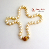 Large Pearl Necklace 14 K Gold Ball Clasp