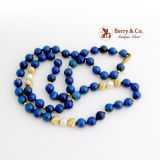 Lapis Lazuli Pearl Gold Bead Necklace 14 K Gold