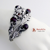 Ornate Dragon Bangle Bracelet Chinese Export Silver Garnet Cabochons