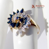 Cluster Ring Sapphires Diamond Chips 10 K Gold