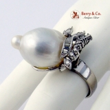 Dazzling Baroque Pearl Cocktail Ring Diamonds 14 K White Gold