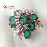 Dazzling Cluster Ring Natural Emeralds and Diamonds 14 K Yellow Gold