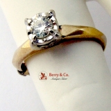 Diamond Solitaire Ring 14 K Gold