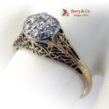Victorian 7 Diamond Ring Open Work Designs 14 K Yellow Gold