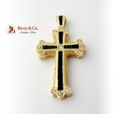 Large Cross Sapphires Diamonds 14 K Yellow Gold
