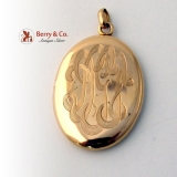 Vintage Locket Pendant 14 K Rose Gold Monogram KKF DGT c.1900
