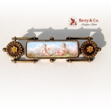Antique Painted Enamel Bar Pin 14 K Gold 1870s