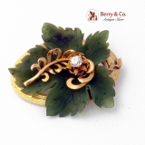Carved Leaf Brooch Nephrite Jade Diamond 14 K Gold