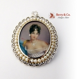 Miniature Portrait Pin or Pendant 18 K White Gold Seed Pearls