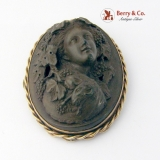 Antique Cameo Brooch Carved Wood 12 K Gold