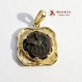 Coin Pendant Antique Copper Coin Set in 14 K Gold