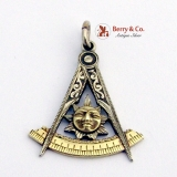 Vintage Masonic Symbol Pendant White and Yellow Gold 1930