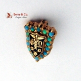 Vintage Psi Omega Medical Fraternity Pin 14K Gold Opals Enamel