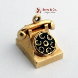 Vintage Dial Telephone Movable Charm 14 K Gold 1940