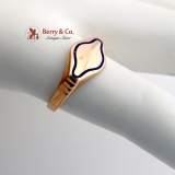 Vintage Blank Signet Ring 18 K Rose Gold Blue Enamel