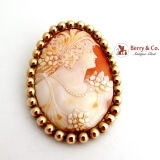 Antique Large Oval Cameo Shell Brooch 12 K Gold