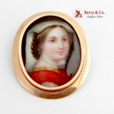Victorian Miniature Portrait Brooch Pendant 14K Gold