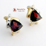 Deep Red Garnet Earrings 14K White and Yellow Gold Diamond Accents