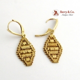 Estate Mesh Dangle Earrings 14 K Yellow Gold