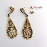 Ornate Tear Drop dangle Filigree Earrings 14 K Yellow Gold