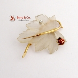 Ladybug on a Leaf Brooch Cut Crystal Enamel Diamond 14 K Gold