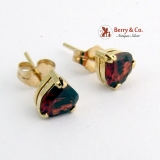 Heart Stud Earrings Garnets 14 K Yellow Gold