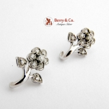 Floral Earrings 14 K White Gold Diamonds