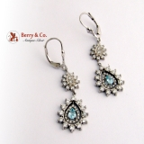 Dazzling Dangle Teardrop Earrings Aquamarine Diamonds 14K White Gold