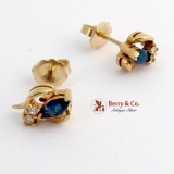 Sapphire and Diamonds Stud Earrings 14 K Gold