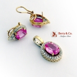 Pink Sapphire Earrings and Pendant 14 K Gold Diamond Halo Design
