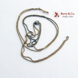 Long Chain Necklace 10 K Yellow Gold Ornate Gold Filled Slider Opal Cabochon 1890