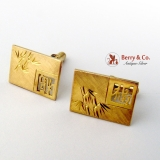 Vintage Chinese Rectangular Cufflinks Engraved Bamboo Decorations 14 K Gold